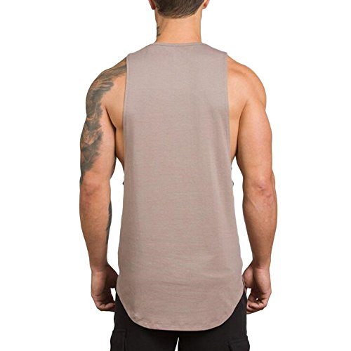 MODOQO Men's Tank Tops Fitness Sleeveless Cotton O-Neck T-Shirt Gym Vest(Beige,L) by MODOQO (Image #3)