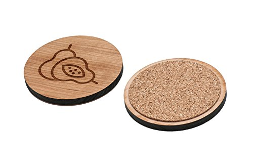 WOODEN ACCESSORIES CO Wooden Coaster Set With Laser Engraved Guava Design - Set of 4 Laser Cut Coasters - Cherry Wood Round Wooden Coasters - Made In The (Guava Gift Set)