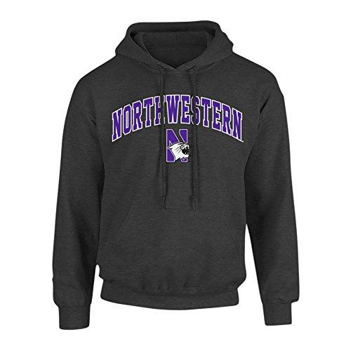 Elite Fan Shop NCAA Men's Northwestern Wildcats Hoodie Sweatshirt Dark Heather Arch Northwestern Wildcats Dark Heather Large