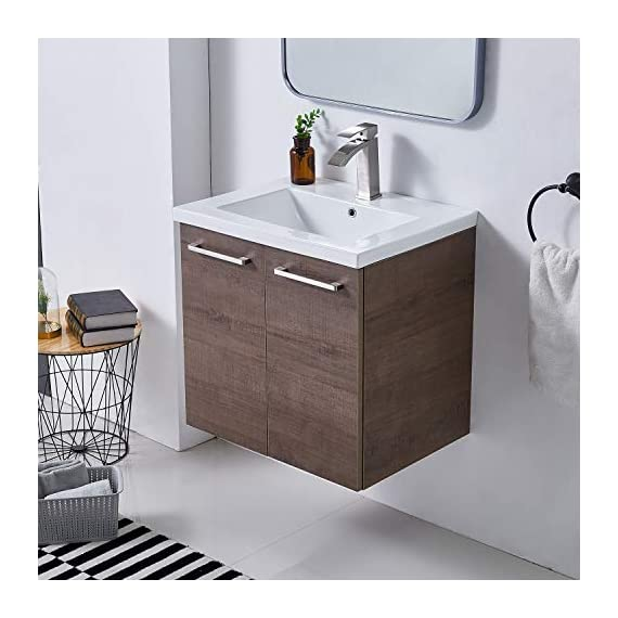 """Ufaucet Modern 21"""" Dark Brown Wood Grain Wall-Mounted Bathroom Vanity, Single 2-Door Bathroom Sink Cabinet Combo Set with Ceramic Vessel Sink - Eco-Friendly construction:MDF wood board and melamine finish. Dimensions:23.6*20.9*18.1 in. Vessal sink Size: 24*18.3*6.7 in.Shipped in two separate packages. Wall-mounted design is the best way to save your bathroom space, and avoid hygienic dead angle on the floor. - kitchen-dining-room-furniture, kitchen-dining-room, kitchen-dining-room-chairs - 41ZzyhApqML. SS570  -"""