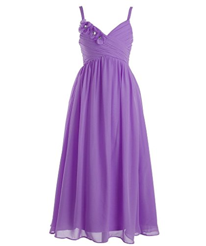 FAIRY COUPLE Big Girl's Spaghetti Straps A-Line Chiffon Long Flower Girl Dress K0095 10 (Straps Girls Dress)