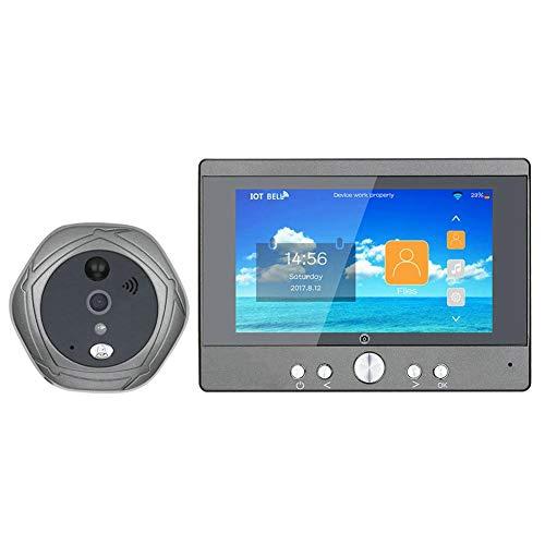 - Wireless WiFi Smart Video Doorbell, 5 Inch Wireless WiFi Doorbell Digital Peephole Viewer Doorphone Camera (US)
