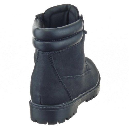 Sopily - Scarpe da Moda Stivali - Scarponi Rangers alla caviglia donna Tacco a blocco 3 CM - soletta tessuto - Nero