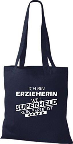 Shirtstown Bolso de tela Estoy Educador de, weil Superheld sin Trabajo ist azul marino