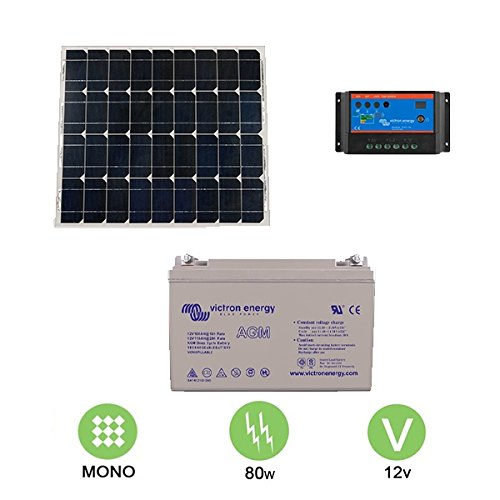 Kit solar autonome 80W–12V Monokristallines