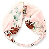 Peach & Pepper 2 PCS Floral Twist Front Elastic Headband Headwrap Hairband Turban for Women Girls