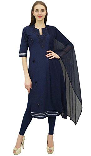 coton Dress Marine Atasi Salwar Indian Bleu Salwar Suit brode Readymade Pantalon Kameez de ZZpvX