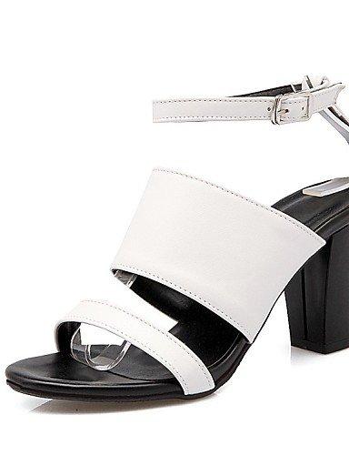 LFNLYX Zapatos de mujer-Tacón Robusto-Tacones / Punta Abierta / Botas a la Moda / Zapatos y Bolsos a Juego / Comfort / Innovador / Náuticos / White