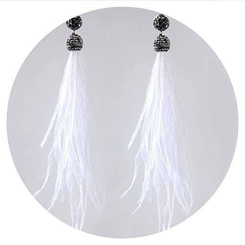 Bohemian Genuine Ostrich Feather Earrings Long Crystal Tassel Dangle Drop Earrings Jewelry For Women,White ()