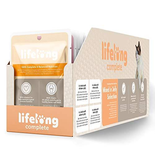 Marca Amazon – Lifelong Alimento completo para gatos adultos – Selección mixta en gelatina, 2,4 kg (24 bolsitas x 100g)