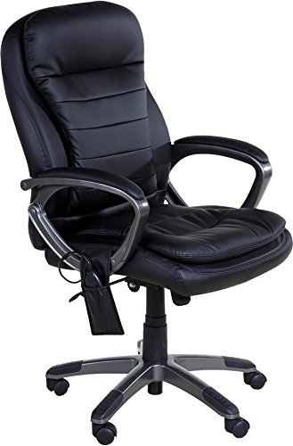 Accord Office Furniture (Relaxzen Leather Executive Pillow Top Chair with Heat and Massage, Black)