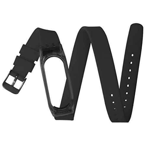 Price comparison product image Alonea 43cm Silicon Soft Sport Strap Replacement Wristband For Xiaomi Mi Band 2 (Black)