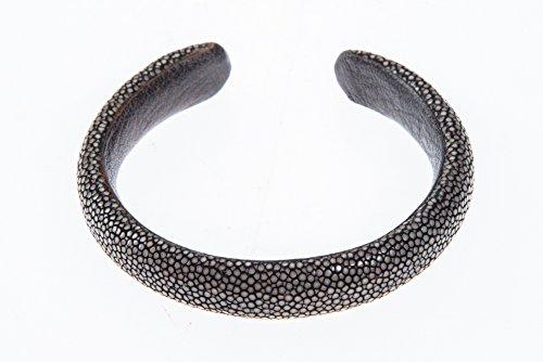 Cuff Bracelet Dark Beauty Real Genuine Stingray Shagreen Skin Leather