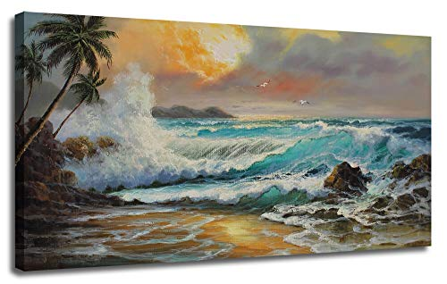 Canvas Wall Art Prints Ocean Sea Wave Sunset Painting Palm Tree Hawaii Panoramic Modern Large Size Artwork Framed Ready to Hang Picture for Living Room Bedroom Home Office Decor 40