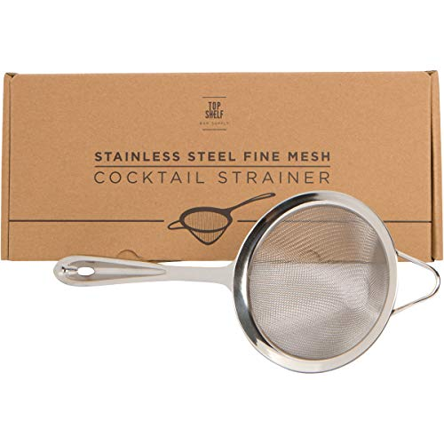 Fine Mesh Cocktail & Tea Strainer: Stainless Steel Conical Strainer by Top Shelf Bar Supply