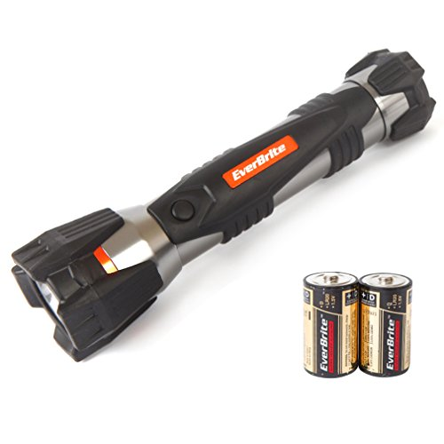 EverBrite D-cell Flashlight - 60 Lumen LED Handheld Torch Light For Night Hunting, Camping, Emergency, 2D Batteries Included