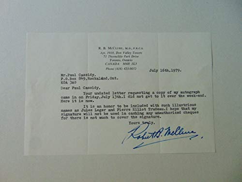 """RARE! '""""Medical Missionary"""" Sir Robert McClure Hand Signed TLS Todd Mueller COA from Unknown"""