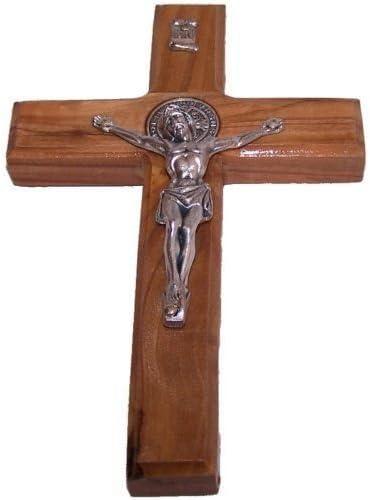 6//15 cm Medalla de crucifijo de San Benito tallada a mano de madera de olivo de tierra santa madera Bethlehem Gifts TM