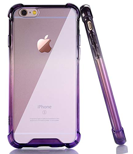 BAISRKE Clear Case for iPhone 6 6s, Shock Absorption Flexible TPU Soft Edge Bumper Anti-Scratch Rigid Slim Protective Cases Hard Plastic Back Cover for iPhone 6 6S - Black Purple Gradient