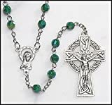 Green Irish Rosary with Celtic Cross. Material: Acrylic 6 Mm Bead Size: 19
