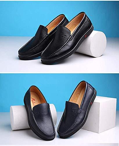 UK 8 para Cuero para Hombres Cordones MARRÓN Hombres Redonda Cabeza 5 HhGold Azul Oscuro cómodos de Informales de con 7 Color US Negocios Zapatos Mocasines 5 Tamaño de para Verano TEqqpxB