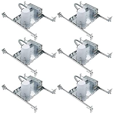 """ESD Tech 6 Pack 3"""" Inch LED New Construction Can Air Tight IC Rated Housing for Recessed Lighting – UL Listed and Title 24 Certified"""