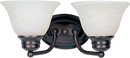 Glass Shade Marble (Maxim 2687MROI Malaga 2-Light Bath Vanity Wall Sconce, Oil Rubbed Bronze Finish, Marble Glass, MB Incandescent Incandescent Bulb , 60W Max., Damp Safety Rating, Standard Dimmable, Hemp String Shade Material, Rated Lumens)