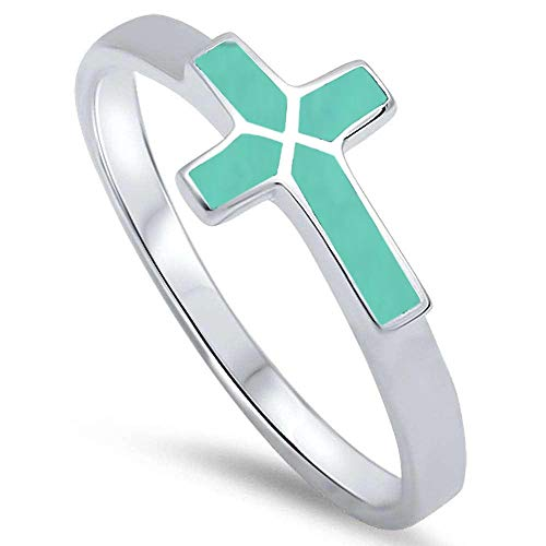 Oxford Diamond Co Sterling Silver Turquoise Sideways Cross Ring Sizes 6