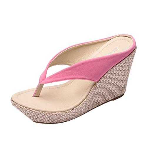 (New in Respctful✿ Women's Flip Flop Wedge Sandal Boho Espadrille Flip Flop for Casual Non Slip Outdoor Pink)