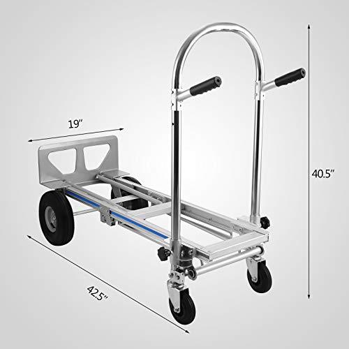 VEVOR 3 IN 1 Aluminiumklappwagen 500kg Handklappwagen mit 2 oder 4 Rädern Handklappwagen Aluminium Treppenrutsche