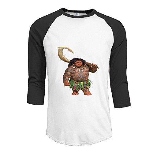Cartoon New Shirt (Moana Maui Cute Cartoon New Arrive 3/4 Sleeve Baseball Graphic T-shirts Man's Black)