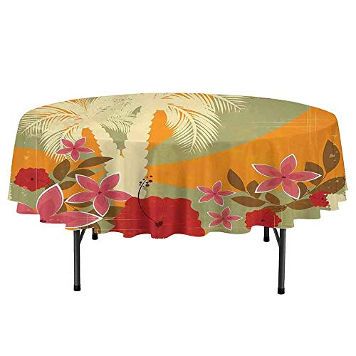 Hawaiian Printed Round Tablecloth Aloha Vintage Print Colorful Swirl Backdrop Dolphins Palm Trees Flowers Desktop Protection pad D51 Inch Marigold Reseda Green