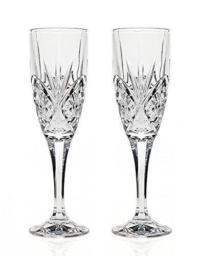 Godinger Silver Art Dublin Non-leaded Crystal Barware Champagne Flutes Glasses, Set of 2
