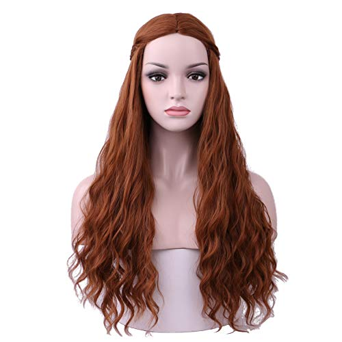 Yilys Women's Long Curly Brown Wig with Braid Halloween Cosplay Fluffy Wig]()