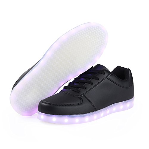 for Sneakers Shoes SAGUARO Sport Halloween Men's Day Couple 2 USB Christmas Colors Light Up LED Valentine's black 8 Charging Women's zwvqzOp