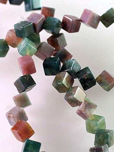 1 Strand Natural Fancy Jasper 6x6mm CD Cube Gemstone Beads Crafting Chain Bracelet Necklace Jewelry Accessories Pendants ()