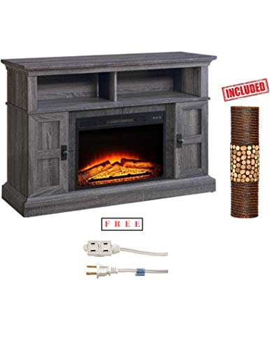 Whalen Media Fireplace Console for Flat Panel TVs up to 55 in Gray Finish with Free