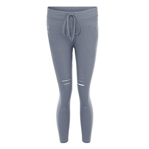 De Femme Unie Maigre Grau Dames Vintage Pantalons Jeans Taille Festive Fashion Couleur Denim Haute Loisirs lastique Pantalon Elgante Pants Dchir gRwaR
