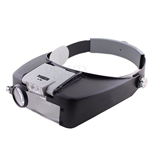 Quality Optics Headlamp Magnifier 8.5x LED Illuminated Headband For Precision Work, and Reading (Grey)