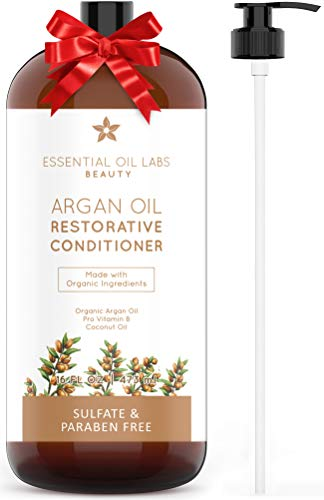 (Argan Oil Conditioner 16 oz, Restorative - Organic Ingredients for all Hair Types by Essential Oil)