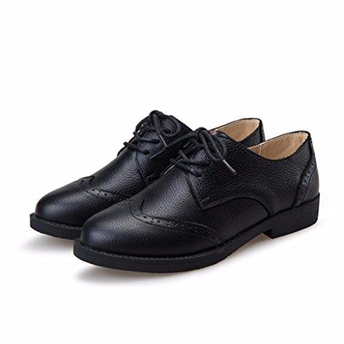 en Lacets Chaussures Moonwalker Véritable Derbies Noir à Femme Cuir I4vIPqX