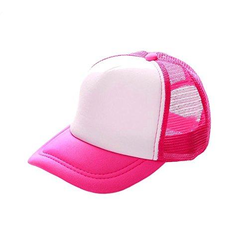 Opromo Blank Neon Foam Poly Mesh Trucker Hat Cap, Adjustable Snapback Hi Vis Cap-Neon Pink/White-Kids