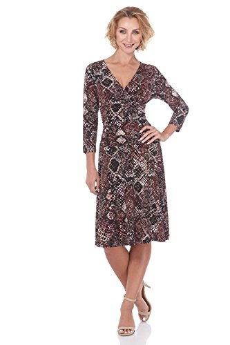 Rekucci Women's Slimming 3/4 Sleeve Fit-and-Flare Crossover Tummy Control Dress (18,Wine Snakeskin)