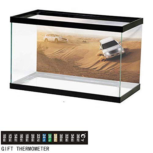wwwhsl Aquarium Background,Sports,Race in The African Desert Safari Adventure Exotic Hobby Activity Picture,Sand Brown White Fish Tank Backdrop 60