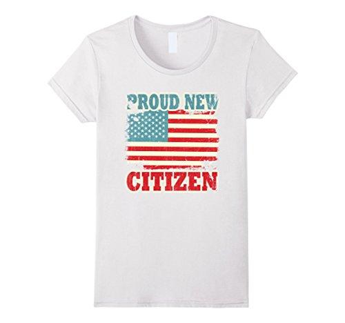Womens Proud New Citizen USA American Citizenship T-Shirt Medium White