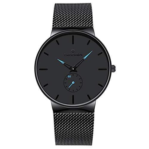 Tonnier Stainless Steel Slim Men Watch Quartz Watch Hollow Watch Hands Independent Second Hand Dial Watches for Men