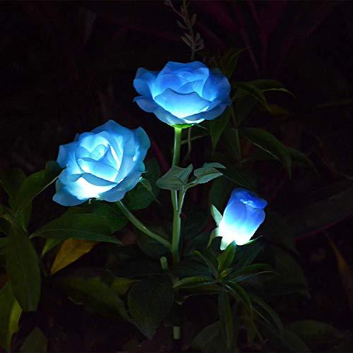 Chasgo Rose Solar Flower Light, Solar Light Outdoor Decorations Stakes for Garden, Yard, Christmas Pathway, Grave Decor, Blue Rose Flower