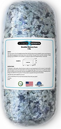 Shredded Memory Foam Fill Replacement for Bean Bags, Chairs, Pillows, Dog Beds, Cushions and Crafts. Made in The USA with 100% CertiPUR-US Certified Foam. (5 - Bag Extreme