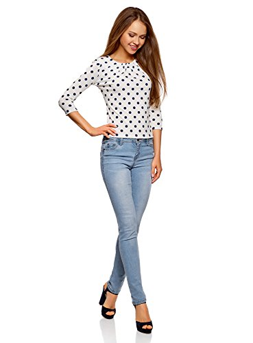 3 Femme 4 oodji Imprim T Blanc Collection Shirt 1279d Manches 5Y5RnHqFP