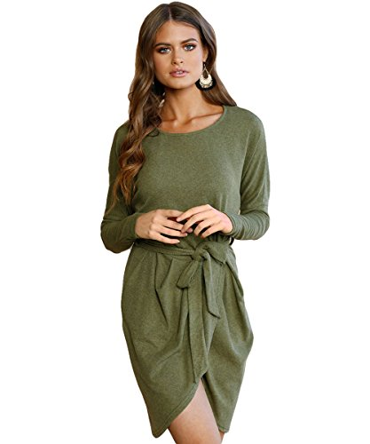 Zhaoyun Womens Casual Long Sleeve Slit Solid Party Midi Dress with Waistband Green-M